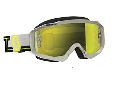 Hustle Goggles - Scott Hustle MX Adult Off-Road Motorcycle Goggles - Grey/Yellow/Chrome/One Size