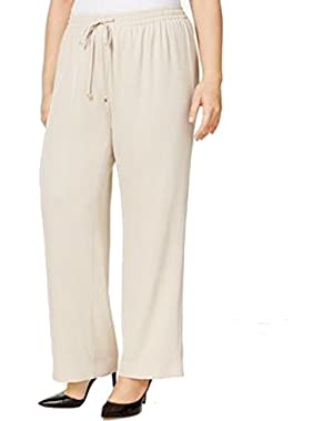 Calvin Klein Women's Medium Drawstring Solid Pants Beige M