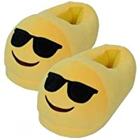Emerge Unisex Slip ons- Cool Emoji - Sunglasses- Soft Plush Warm, Comfortable, Fully Covered -Home Shoes Free Size Upto 39EU
