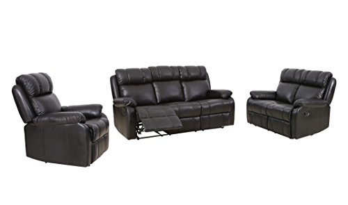 BestMassage Loveseat Chaise Reclining Couch Recliner Sofa Chair Leather Accent Chair (Set Sofa Loveseat Recliner Chair)