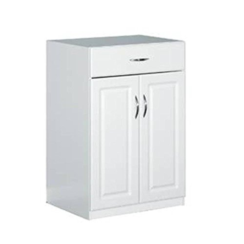24 in. Freestanding Raised Panel Base Cabinet with 1-Drawer and 2-Door, White