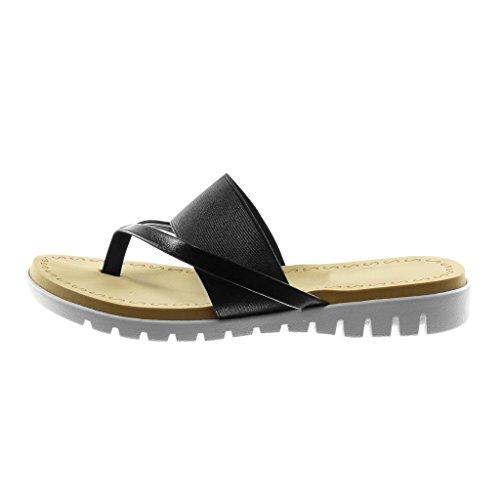 Angkorly Damen Schuhe Sandalen Flip-Flops - Slip-On - Metallischen - Sneaker Sohle - Glänzende Keilabsatz 2.5 cm Schwarz