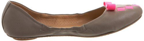 Maloles Womens Brie Flat Plain Leather Grey/Fluo Ribbon Pink 5sXEaLhG