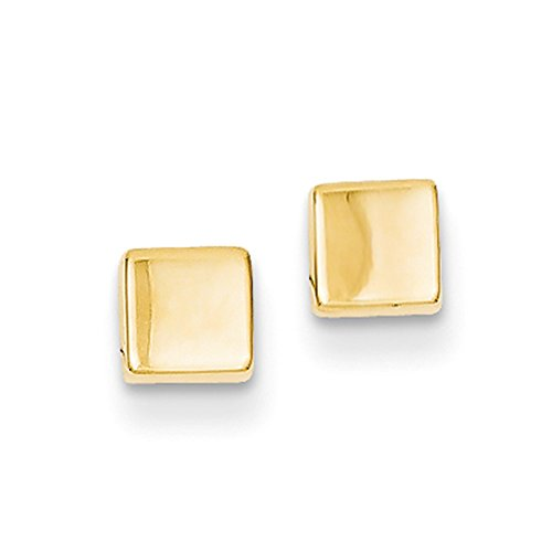 Polished Square Earrings - 4mm Polished Square Post Earrings in 14k Yellow Gold