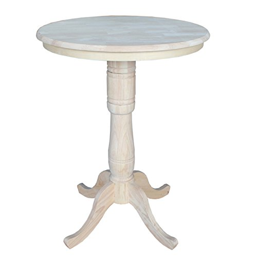 International Concepts Round Top Adjustable Pedestal Table, Standard/Counter/Bar Height, 30-Inch