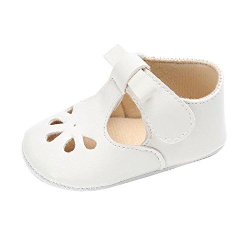 Newborn Sandals,Kimanli Baby Girl boys Soft Sole Crib Toddler Soft Anti-Slip (0~6 months, White)