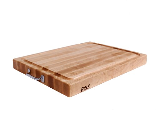 John Boos Block RAFR2418 Reversible Maple Edge Grain Cutting Board with Juice Groove and Chrome Handles, 24 Inches x 18 Inches x 2.25 Inches ()