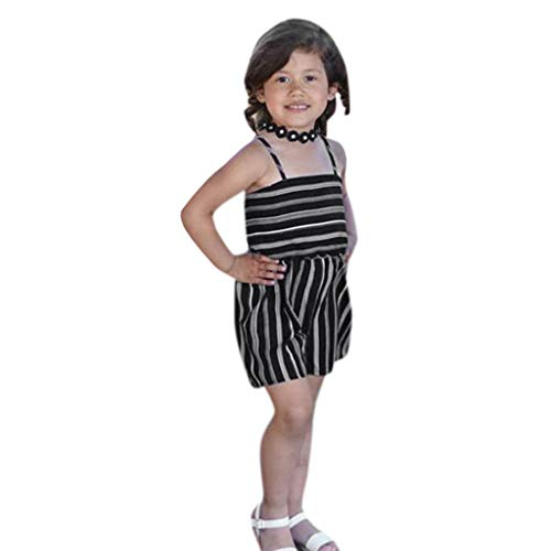 NUWFOR Toddler Baby Kids Girls Summer Striped Backless Romper Jumpsuits Clothes Sunsuit?Black,12-18 Months?