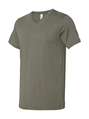 Bella Canvas Men's Jersey Short Sleeve V-Neck Tee, Military Green, XX-Large