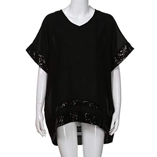 Couleurs Mlanges Large Cou Irregular Automne Mode Femme Tops Schwarz Manches Chemisier Sequins Jeune Haut Courtes Costume V lgant Chic HnEwqO87