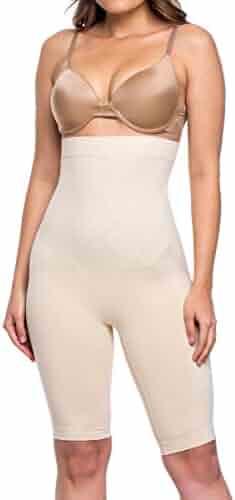 72431a610b7 Miorre Women s Shapewear Seamless High Waist Long Leg Thigh Slimmer Tummy  Control Body Shaper