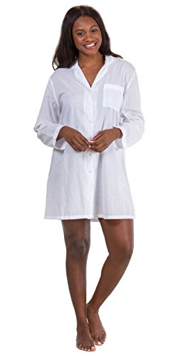 La Cera Boutique Long Sleeve Button-Front Cotton Nightshirt in Essential  White (White 3a1c7a83d3