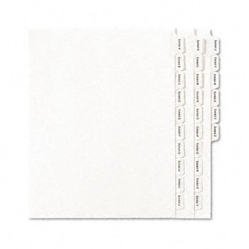 Allstate-Style Legal Index Dividers, 25-Tab, Exhibit A-Z, Letter, White, 26/Pack