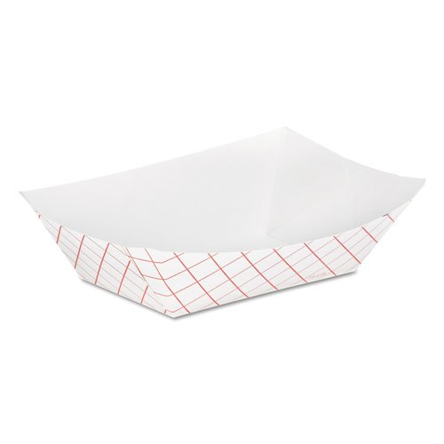 Dixie Kant Leek Clay-Coated Paper Food Tray, 3 3/4 x 1 2/5 x 5 3/10, Red Plaid - 1000 paper food trays. (Leek Dixie Kant)