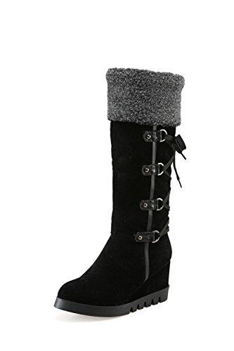 AllhqFashion Mujeres Sin cordones Tacón Alto Gamuza(Imitado) Sólido Caña Alta Botas Negro