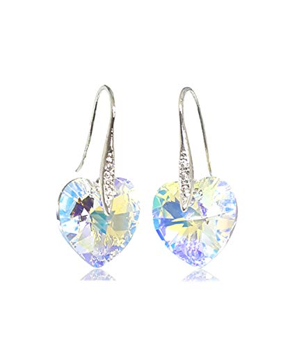 Artnouveau Elle Heart Pendant Drop Hook Earrings with White Crystals from Swarovski (Crystal AB)