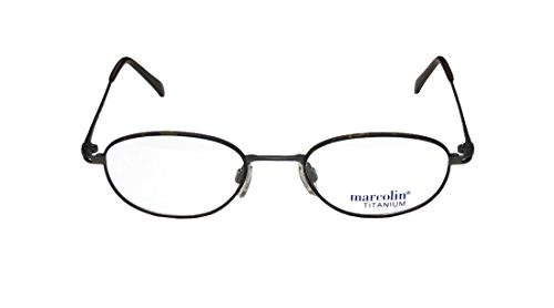 Marcolin 2038 MensWomens Ophthalmic With Hard Case Designer Full-rim Titanium EyeglassesEyewear (49-20-140 Dark Gray  Tortoise)