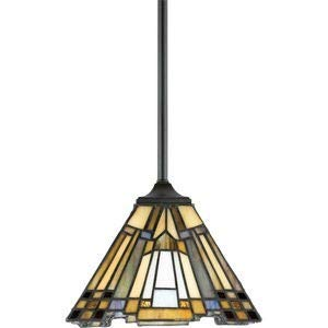 - Quoizel TFIK1508VA Inglenook Tiffany Mini Pendant Lighting, 1-Light, 100 Watts, Valiant Bronze (7