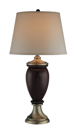 Lite Source LS-21148 Romola Table Lamp, Antique Brass And Caramel with Light Gold Fabric Shade