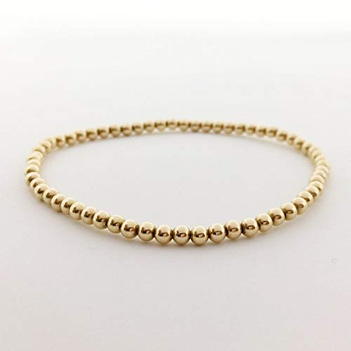 "14K Gold Filled Seamless Beaded Ball Bracelet, 3mm, Stacking Stretch Bracelet, Layering Jewelry, 6.5"" ()"