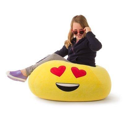 GoMoji Emoji Ergonomic, Heart Eyes Soft Fur, Durable, Very Comfortable Bean Bag Chair Love Yellow by Generic (Image #1)