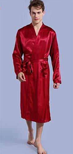 Lige Bath Saoye Fashion unita Pyjamas tinta Dress Red Abbigliamento Robe Silk Evening 46Pqw14