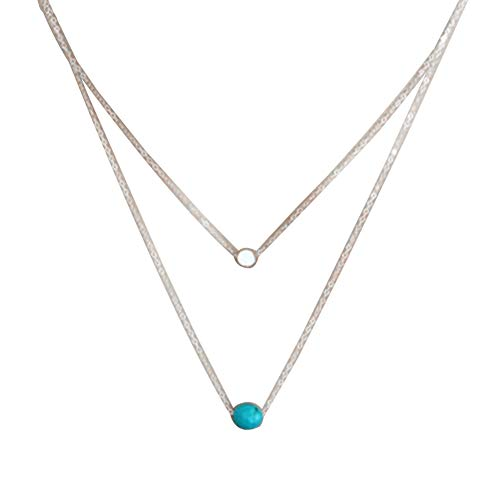 bjduck99 Women Vintage Multilayer Faux Turquoise Pendant Choker Necklace Jewelry ()