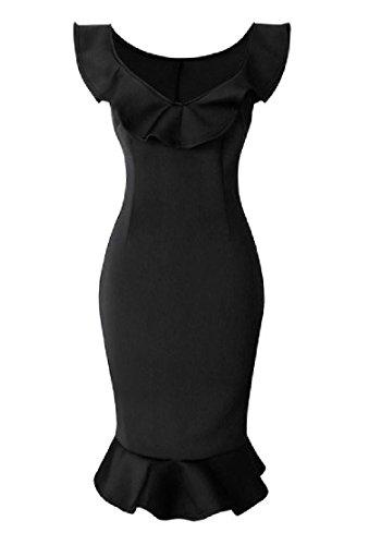 Confortable Femmes Manches Sirène Sexy Moulante Solide Mi Robe Longueur Noir