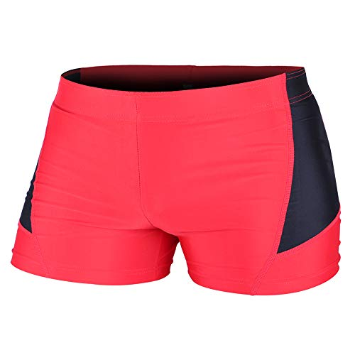 Lycra Spandex Shorts - MUSCLE ALIVE Mens Bodybuilding Shorts Tights Polyester and Spandex Size L Plain Red with Black