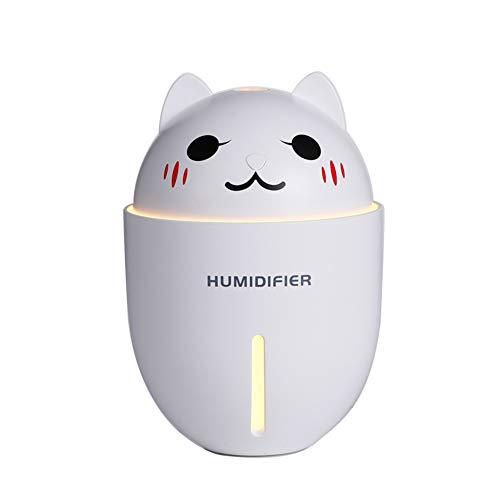 Brave669 3-in-1 320ml Cute Pet Portable USB Air Humidifier LED Light Fan Mist Diffuser White