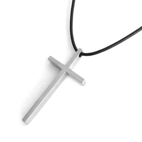 Simple Thin Stainless Steel Cross Pendant on Black Leather Necklace Cord (18 Inches)
