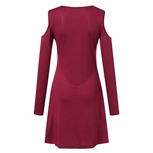 Tunique Chic Longue Hiver Robe Froid Manteau Pullover Veste Sweatshirt Manche Chaud Pull Accueil Shirt Sweat Top T Cebbay Femme et Blouse Haut Chemisier Automne Rouge qwCaW4Zxz