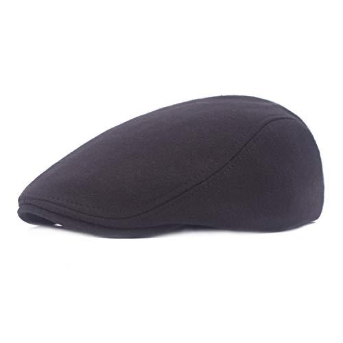 bf875951f88fe MAIPOETYRY Men s Linen Duckbill Ivy Newsboy Hat Scally Flat Cap (Black)