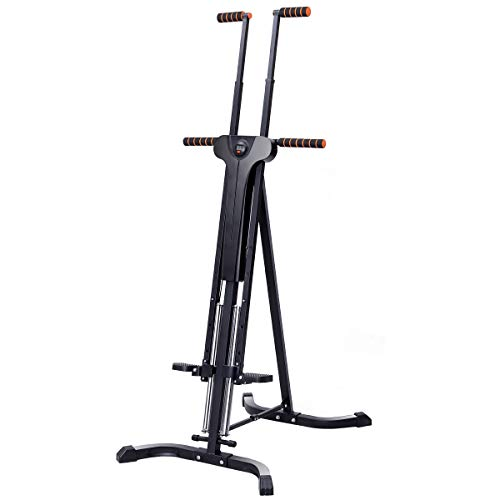 (Goplus Vertical Climber Folding Stepper Climbing Exercise Machine w/Adjustable Height LCD Display Cardio Climbing System Home Gym (5 Adjustable Height))