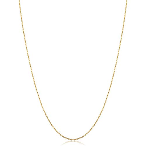 Solid 14k Yellow Gold Dainty Rope Chain Necklace (0.7 mm, 14 inch)