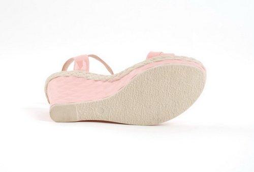 AmoonyFashion Womens Open Toe High Heel Wedge Platform Soft Material PU Solid Sandals Pink vyxC8K9aZf