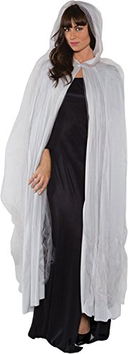 Underwraps Ghost Adult Full Length Tattered Cape, (White Cape Costume)
