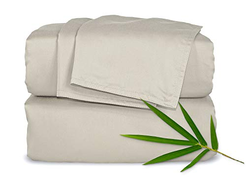 ing 4pc Bed Sheet Set - 100% Bamboo Luxuriously Soft Bed Sheets (King, Sand) ()