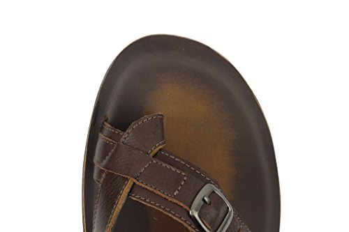 Mens Leather Brown Big Size Toe Grip Thong Sandals Summer Slip on Slippers ZWi6Pv