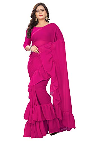 Saree Magenta - Jaanvi fashion Women's Ruffle Georgette Saree (Ruffle-Magenta)