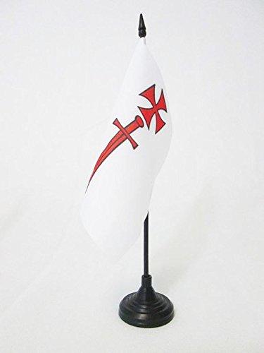 BANDIERA DA TAVOLO ORDINE DEI CAVALIERI PORTASPADA 15x15cm - PICCOLA BANDIERINA CAVALIERI TEMPLARI 15 x 15 cm - AZ FLAG