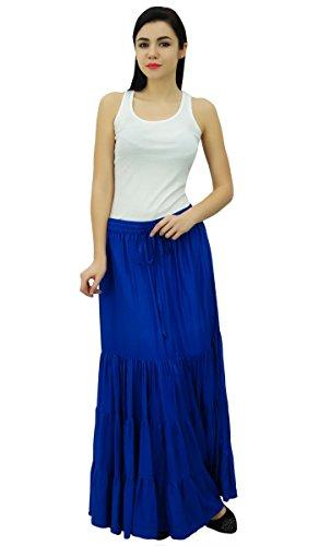 maxi Bleu jupe longue bohmes Royal boho Bimba lastique rayonne jupes femmes Flaired de wPqTv5vIE
