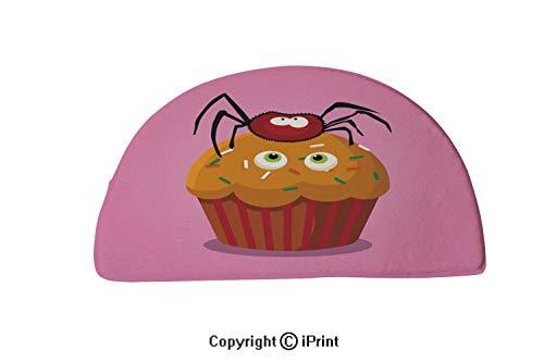 LEFEDZYLJHGO Indoor Doormat Mud Absorbent Rubber Backing Non Slip Door Mat,24x16 inch,Cute Happy Halloween Cupcake with Spider and Monster Eyes -