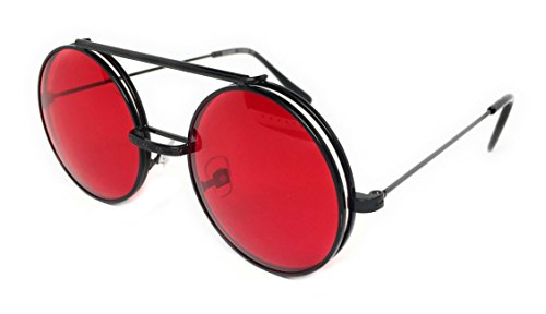 WebDeals - Round Flip Up Steampunk Flip-Up Metal Django Sunglasses (Black, Red) (Steampunk Flip Up Sonnenbrillen)