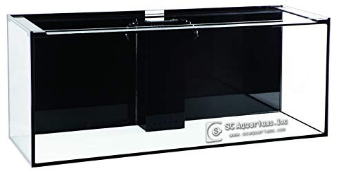 SC Aquariums 150 Gallon Starfire Glass Aquarium 60x24x24 12mm Eurobraced with Built-in Overflow Box