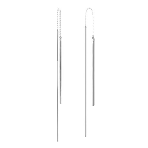 925 Sterling Silver Threader Earrings, Solid Silver Long Drop Bar Earrings, Double Bar Chain Earrings, Thread Earrings, Solid Silver Bar Drop Earrings, Bar Earrings, 6 grams Simple Bar Earrings