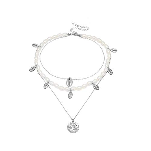 Handmade Necklace Women Bohemian Style Multi-Layer Necklace Retro Natural Pearl Shell Jewelry Pendant(Silver)