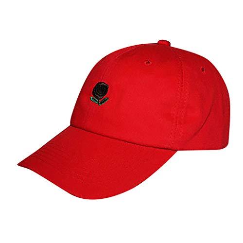 f22faaaaa Rose Embroidered Dad Hat Women Men Cute Adjustable Cotton Floral Baseball  Cap Sunscreen Leisure Sun Hat