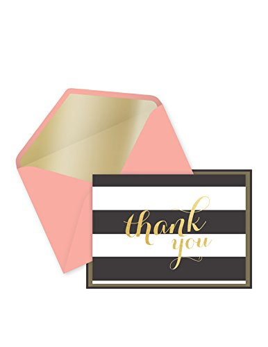 Eccolo World Traveler 14-Count Many Thanks Boxed Notes, Black White Stripes (QD522)