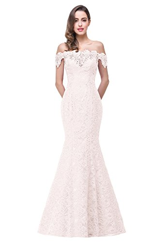 Women's Prom Dresses Mermaid Off The Shoulder Lace & Beads Dresses ,Ivory,2